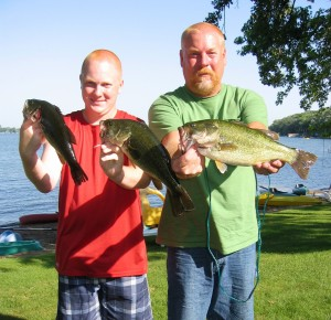 Luke and Brian with Large Mouth Bass